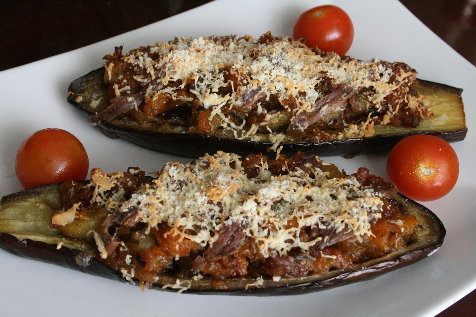 Berenjenas rellenas con anchoas del Cantábrico
