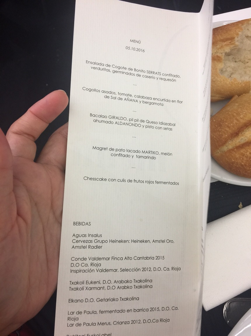Menú del Basque Coulinary Center en San Sebastián Gastronomika